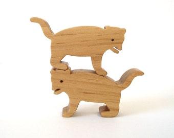 Wood Tasmanian Devil Toy Waldorf Miniature Noah's Ark Australian Wooden Endangered Animals Zoo Hand Cut Scroll Saw