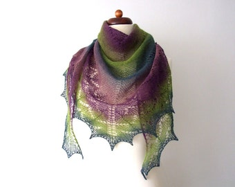 handknit lace shawl, triangle wool scarf, purple green teal