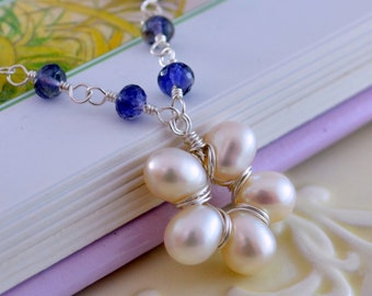 Gemstone and Pearl Necklace, Flower Girl Jewelry, White Freshwater Flower, Navy Blue Iolite Stone, Sterling Silver