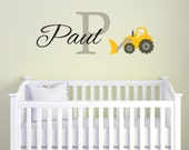 Personalized Construction Wall Decal for Boys, Bulldozer Name Nursery Monogram Vinyl Wall Decals, Vinyl Lettering Boys Bedroom Wall Decor
