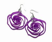 Candy Box Jewelry: Laser Cut Rose earrings - acrylic or wood