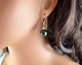 Green Christmas Earrings, Holiday Jewelry, Ball Ornament, Glass Pearl, Leverback Earwires, Wire Wrapped, Sterling Silver, Free Shipping