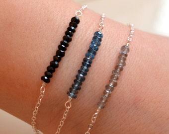 Silver Stacking Bracelet Set, Labradorite, London Blue Topaz, Black Spinel, Gemstone Row, Sterling, Dainty Jewelry, Free Shipping