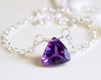 Amethyst Necklace, Sterling Silver Choker, Gold, Simple Delicate Jewelry, February Birthstone, Genuine Dark Purple Gemstone, Free Shipping
