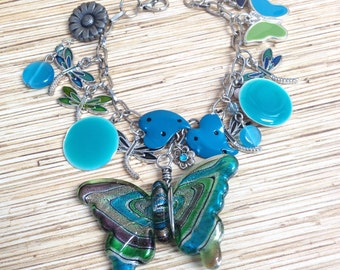 Butterflies and Dragonflies  Hippie Recycled /Upcycled Charm Bracelet