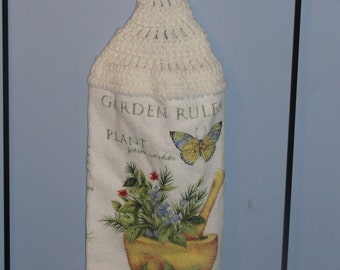 Garden Rules crocheted double kitchen dish towel