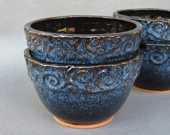 Soup Cereal Bowls Set of 2 Gloss Black and Blue Speckles Swirly Rim