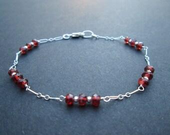Garnet sterling silver bracelet- January birthstone
