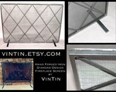 Made to Fit Your Fireplace Hand Forged Iron Diamond Design Fireplace Screen by VinTin (Item # F-218)
