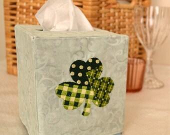 Patchwork Shamrock Tissue Box Cover