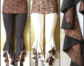 Tribal Belly Dance Hula Hoop Festival Pants with Brown Lace Detail and Overskirt in Black or White Bamboo