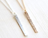 Long Hammerd Bar Layering Necklace // Sterling Silver or 14K Gold Filled //  Simple everyday delicate dainty layering jewelry