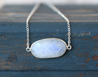 Horizontal Moonstone Oval Gemstone Bar Necklace // Sterling Silver // Simple everyday layering jewelry