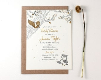 10 Personalized Invitations - Enchanted Forest of Squirrel and Owl