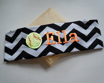 CHEVRON Stretch Headband in Sports Themes PERSONALIZED and CUSTOMIZABLE with your name and colors
