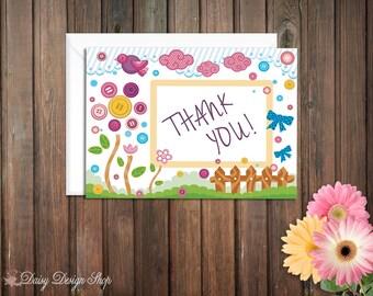 Gracias tarjetas - botones y arcos - Lalaloopsy inspirado - juego de 10 con los sobres
