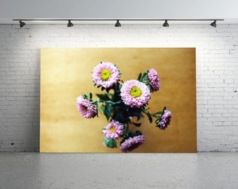 Pretty Pink FLOWER Photo, Pink Aster Photo, Unique Pink Flower Film Photography, Flower Photography, Pink and Yellow Flowers, Pink Asters
