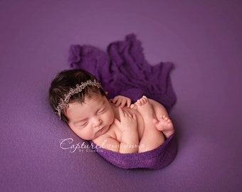 Leighton Heritage Newborn Stretch Wrap IN STOCK and Ready to Ship Knit Soft Swaddle Photography Prop Girly Purple Layering Texture Womb Pose