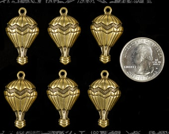 Antiqued Brass Hot Air Balloon Charms Set of Six * AB-C38