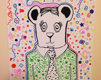 """Bear Collaboration - 16""""x20"""" Abstract, Modern, Contemporary, Bright, Colorful, Fun, Affordable, Green, Pink, Bear, Suit, Original Painting"""