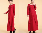 Asian- style Linen Long Dress with its Skirt in Two Layers/ Long Sleeves/ 18 Colors/ RAMIES