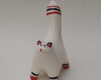White and red striped cat, mini sculpture