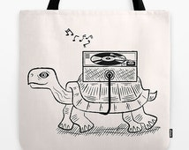 "Tortoise Wax -  Turtle / Vinyl - Black and White - Modern / Retro - Record bag - Tote Bag - Book Bag - 18"" x 18"""
