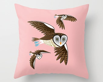 """Owls On The Prowl - Pink Throw Pillow / Cushion Cover (16"""" x 16"""") iOTA iLLUSTRATION"""