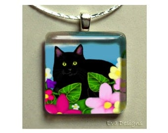 BLACK CAT flowers necklace jewelry art gift pet 1 inch glass tile pendant with chain