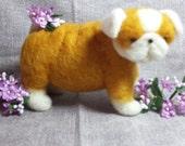 Needle Felted Fat and Wrinkles Bulldog Puppy, dog honey and white
