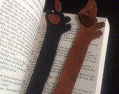 Dachshund Bookmark - Leather - Black or Brown