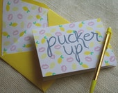 "Illustrated Lemons and Lips ""Pucker Up"" Kiss  Blank Greeting Card"