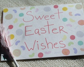 "Illustrated Easter Candy ""Sweet Easter Wishes""  Handmade Blank Greeting Card"