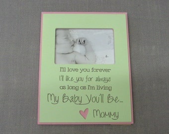 8.5x11 inch frame for 4x6 photo. qoute I'll love you for ever, I'll like you for always, as long as I'm living, my baby you'll be