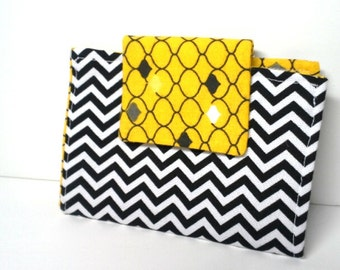 Black and White Chevron Wallet with Yellow Geometric Print Lining