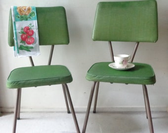 Set of 2 VIntage Kitchen Chairs in Olive Green - PICK UP ONLY