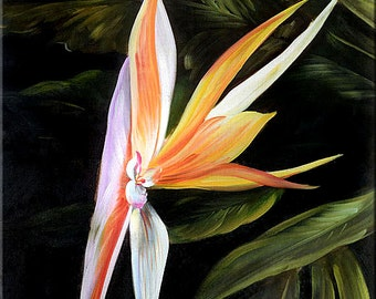 ORIGINAL Oil Painting Exotic 23 x 36 Flowers Realism Orange Purple Green Tropical Big  ART By MARCHELLA