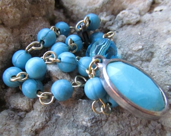 Beautiful beaded Bracelet with turquoise colored focal charm  C 47
