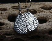 Rustic Leaves of Life Earrings - PMC - Fine Silver Leaves - Folk Art Earrings