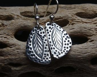 Rustic Leaves of Life Earrings - PMC - Fine Silver Leaves - Folk Art Earrings