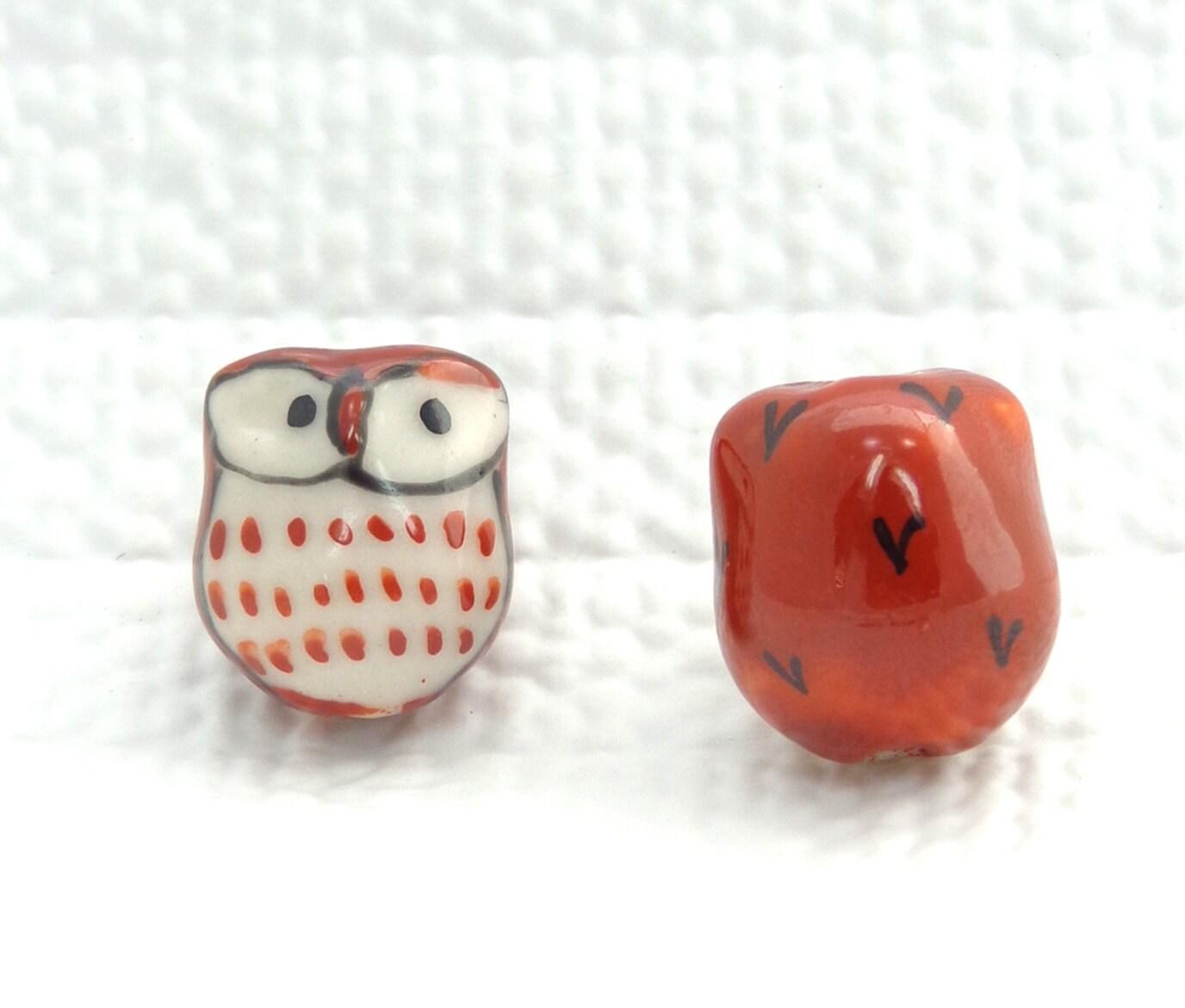 Ceramic Bead Beads: Brown And White Ceramic Hand Painted Owl Beads Owl Beads