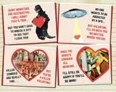 Valentine's Day Card Monster Art Variety Pack Zombie Art UFO Art Robot Art Retro Valentine Vintage Card Geekery Alternate Histories