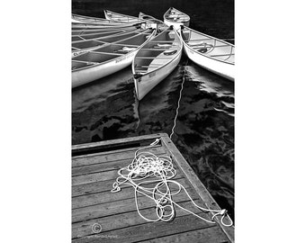 Tethered Canoes and Dock on Lost Lake in Whistler British Columbia Canada No.0970 A Black and White Fine Art Seascape Photograph
