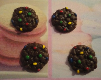 Kawaii chocolate cookie with chocolate candy cabochon decoden deco diy charms  4 pcs--USA seller