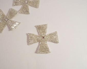 Crystal Beaded Maltese Cross Design Applique--One Piece