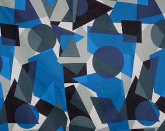 REMNANT--Blue with Black and Gray Geometric Print Stretch Cotton Sateen Fabric--1.75 YardS