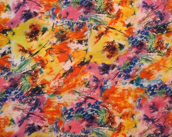 SPECIAL--Bright Yellow and Pink Abstract Floral Print Polyester Charmeuse Fabric--One Yard