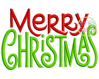 Merry Christmas Embroidery Design For Machine Embroidery in sizes 4x4, 5x7 and 6x10, INSTANT DOWNLOAD now available