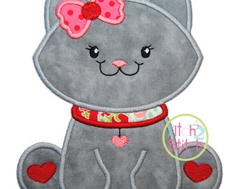 """Sitting Kitty Applique, Sizes 4x4, 5x7, and 6x10, shown with our """"Cinnamon Cakes"""" Font NOT Included, INSTANT DOWNLOAD available"""