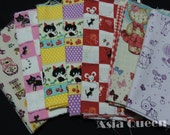 "USD8 - Scrap bundle - Cats and cute animals - 7 pieces(46cm x 27cm) - 39% off  - cotton linen - use code ""5YEAR"" to save 20 percent off"